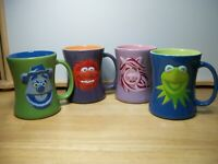 "Henson's ""MUPPETS"" 4PC MUG SET  Miss Piggy Kermit Animal Fozzie~EUC"