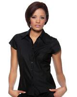 BLACK LADIES BAR HOSPITALITY SHIRT KK795 CAP SHORT SLEEVE WAITRESS FEMALE BLOUSE