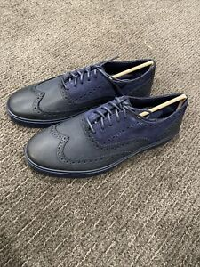 Cole Haan Men's Bergen Wingtip Oxford Black Irish Suede Blue Size 9.5M C11680