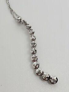 14k White Gold Fine Knotted Chain 10k 11 Diamond Journey 1 Inch Pendant Estate