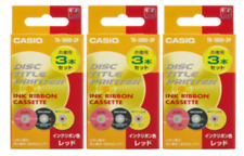 New Casio Disc Title Printer Ink Ribbon TR-18RD-3P Red 3 pcs 3 Boxes F/S Japan