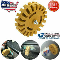 "US! Decal Removal Eraser Wheel w/ Power Drill Arbor Adapter 4"" Rubber Pinstripe"