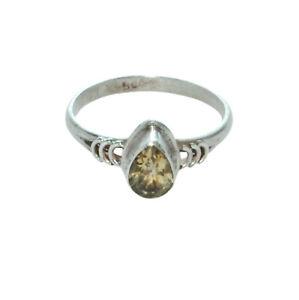 Sterling Silver Ethnic Asian Vintage Style Lemon Quartz Stone Ring Size O Gift