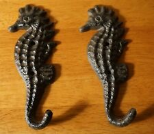New Listing2 Nautical Cast Iron Sea Horse Tropical Anchor Beach Towel Hook Home Decor Set
