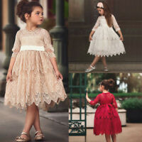 Toddler Kids Baby Girl Lace Flower Princess Tulle Party Pageant Dress Clothes US