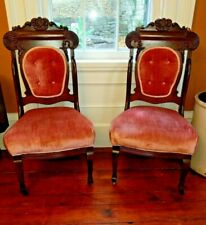 Set of 2 Pink Victorian Parlor or Dining Chairs Antique Casters