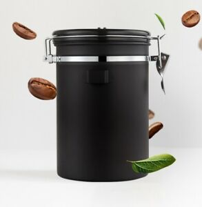 1800ml Coffee Container with Spoon Canister Airtight Steel Vacuum Seal Storage