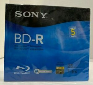 SONY - 5 Pack - BD-R - Blu-ray Disc - Recordable - Full HD 1080 - 25 GB - NEW