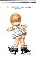 X11. Vintage Bamforth's Comic Postcard. Girl in Mother's Shoes. By D Tempest.