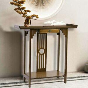 Konsolentisch Beistelltisch Schreibtisch Holz mit Schublade in Antik Stil Braun