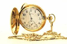 ILLINOIS Rare Collectible 14K Yellow Gold Pocket Watch with Solid Gold Chain