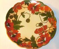 "Vienna Austria Hand painted Orange Poppy Flower Scalloped Edge 8.5"" China Plate"