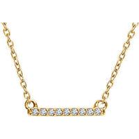"Genuine Diamonds Petite Bar Pendant 16-18"" Chain Necklace set in 14K. Solid Gold"
