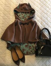 "NWOT Authentic Button Fox CAPE Brown Teal ""DisneyBound"" Print Wrap"