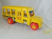 1965 FISHER PRICE School Bus #192 pull toy Little People Plastic Wood Vtg