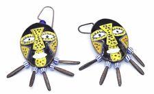 BIG Vtg ARTISAN Modernist TRIBAL MASK Sterling Silver ENAMEL Beaded Earrings
