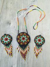 Mexican Huichol Medallion Beaded Necklace Set With Medallion Beaded Earrings