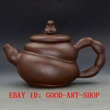 Chinese Yixing Zisha Hand-carved Bamboo Shape Teapot G6