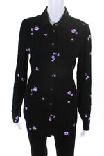 Equipment Femme Womens Floral Print Button Down Blouse Black Purple Size Small