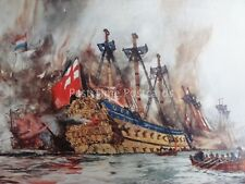 c1901 Print THE LONDON Burnt by the Dutch in the Medway 1664 by Charles Dixon