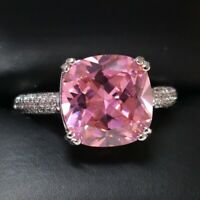 Sparkling Princess Pink Sapphire Ring Women Anniversary Jewelry 14K Gold Plated