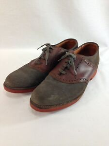 Walk-Over Saddle Shoes Mens 9.5 M Brown Leather Gray Suede Oxfords USA