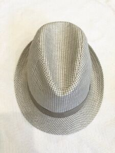 Boys Cream And Beige Houndstooth Fedora Hat By Brooks Brothers Sz M NWOT
