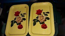 2 Vintage Rose Roses Tray Platter  Yellow Floral Rectangular 14X9  Retro