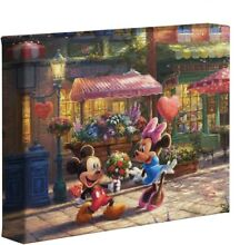 New ListingDisney Thomas Kinkade Mickey & Minnie Sweetheart Cafe 14x14 Gallery Canvas