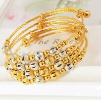 18k Yellow Gold Womens Elegant Adjustable Bell And Beads Bracelet Bangle D734B