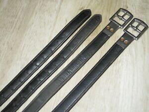 "BATES Black Calfskin Covered Nylon Lined Dressage Stirrup Leathers - Size 56"""