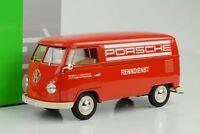 1963 Volkswagen VW T1 Bus Porsche Renndienst rot 1:18 Welly