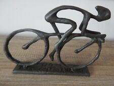 CAST IRON ORNAMENT RACING BIKE CYCLE WITH RIDER DECORATIVE GIFT TROPHY