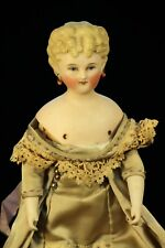 "10.5"" Antique German Bisque Doll Painted Eyes Deep Molded Blonde Hair"