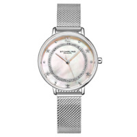 Stuhrling 3993 1 Mother of Pearl Crystal Accented Stainless Steel Womens Watch