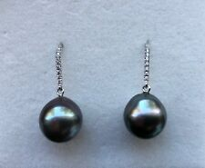Never Worn 18K White Gold Exquisite Tahitian Pearl Earrings with diamond band.