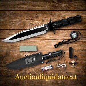 "14"" Tactical Prepper Hunting Camping Silver & Black Survival Knife with Compass"