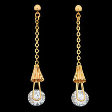 Gold Filled Antique Women's Long Dangle Earring Made With Swarovski Crystal XN9