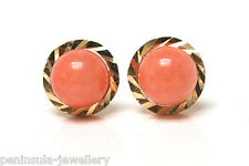 9ct Gold Coral studs earrings Gift Boxed Made in UK