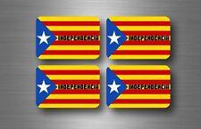 4x Autocollant Drapeau Catalogne Catalunya Catalan estrelada libre indépendance ...