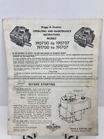 Vintage Briggs & Stratton Instruction Manual 190700-190707 191700-191707 Engines