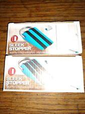 Lot of 2 SleekStopper Door Stopper with Rubber Treads & Metal Handle (blue)