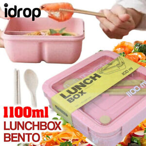idrop 1100ml Square Bento Lunchbox with Eating Utensils