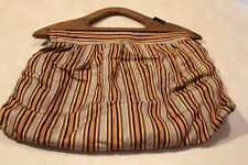 Antique Lined Knitting Bag Wooden Handles Handmade Unique Rare! Stars Attached