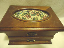 WOODEN HINGED SMALL JEWELRY BOX WITH OVAL BROCADE CUSHION ON TOP..ONE DRAWER