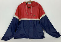 VTG Izod Lacoste Mens Windbreaker Jacket Hood Red White Blue Full Zip Size XL