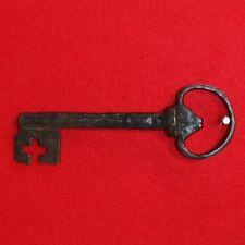 "Antique KEY English Castle Door Church Jail House Lock 7.25"" L HEART SHAPED BOW"