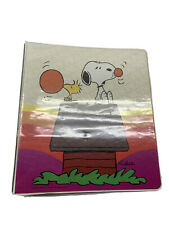 PEANUTS Snoopy Woodstock 3 Ring binder 1970s Vintage Rainbow