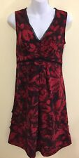 Simply Vera Wang Dress 8 M Red Black Floral Empire Fit and Flare Ruffled Fall