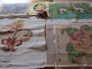 Lot de 5 canevas à faire ou à finir oiseaux fleurs paysage Frantz DMC